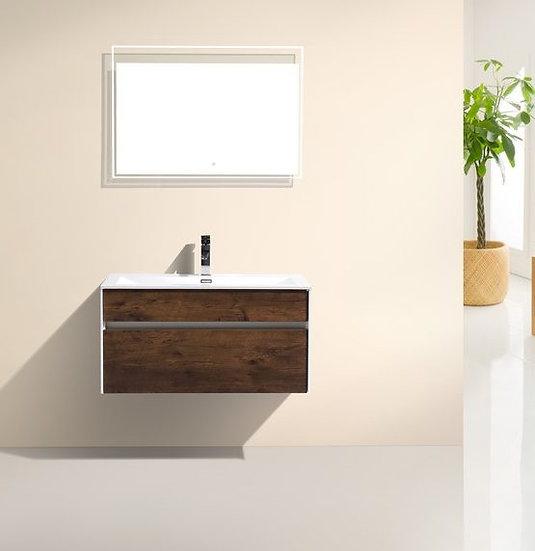 Tona Fitto 36″ Rosewood Wall Mount Modern Vanity