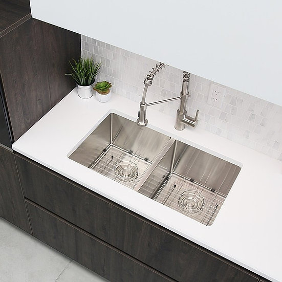 28 in Double Bowl Kitchen Sink, 16 Gauge Stainless Steel with Grids and Basket S