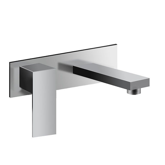 Chrome and cubic wall-mount bathroom sink faucet with only one handle