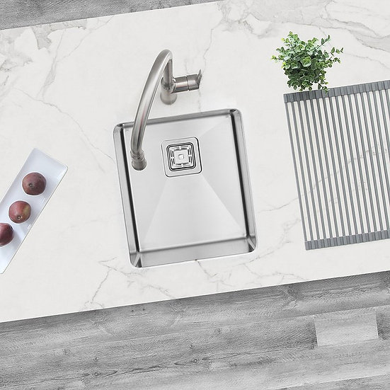 16 in Single Bowl Bar Sink, 16 Gauge Stainless Steel with Grid and Square Strain