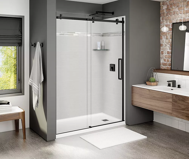 Frameless Sliding Shower Door in Matte Black with Clear Glass