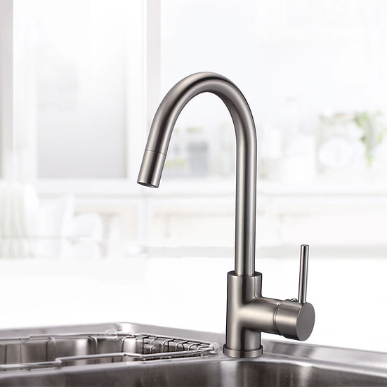 Brushed Nickel Finished Brass Kitchen Faucet