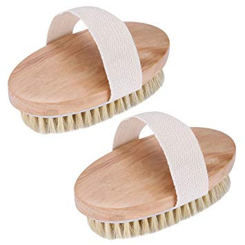 2pcs Dry Body Brush Bristles Bath Brush for Bath Spa Shower Massage