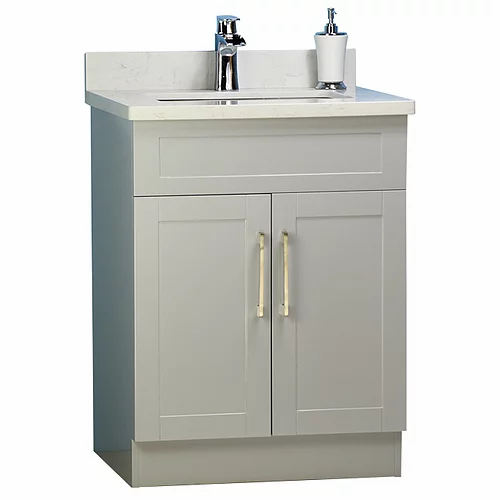 "26"" Shaker Style Grey Bathroom Vanity with Stone Top"