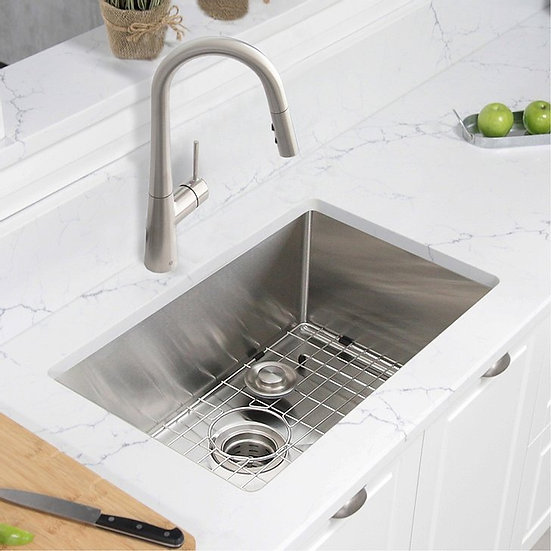2 in Single Bowl Kitchen Sink, 16 Gauge Stainless Steel with Grid and Basket Str