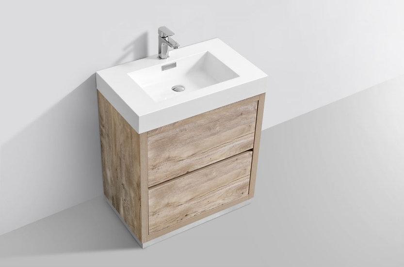 "30"" BLISS - Nature Wood - Single Sink Free Standing Vanity"