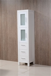 Brezza Matte White Bathroom Linen Cabinet w/ 2 Frosted Glass Doors & 3 Drawers