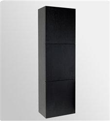 Black Bliss Bathroom Linen Cabinet w/ 3 Large Storage Area