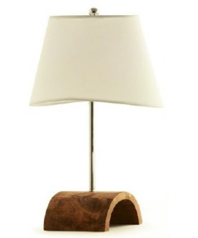 Walnut Stain Half Oval Table Lamp w/ White Shade