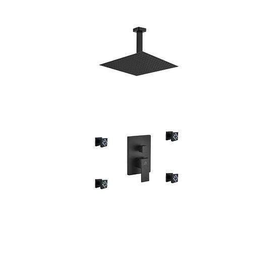 AQUA PIAZZA BLACK SHOWER SET W/ 12″ CEILING MOUNT SQUARE RAIN SHOWER AND 4 BODY