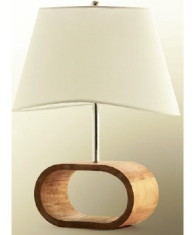 Large Walnut Stain Oval Table Lamp w/ White Shade