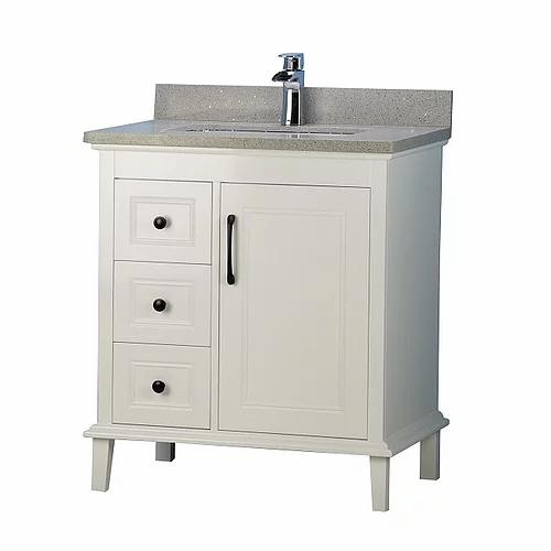 "30"" European Style Grey Bathroom Vanity with Stone Top"