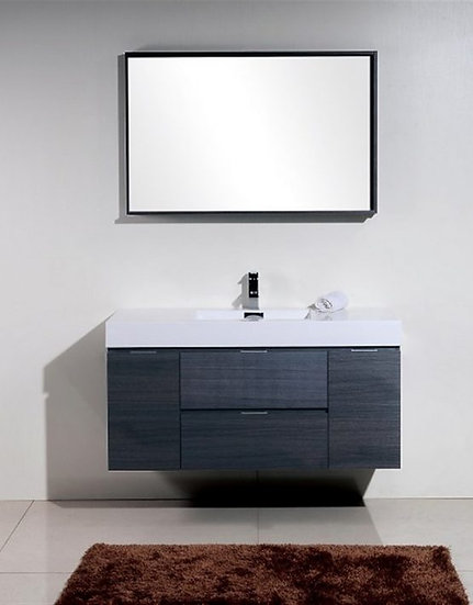 "48"" High Gloss Gray Oak Wall Mount Single Sink Vanity"
