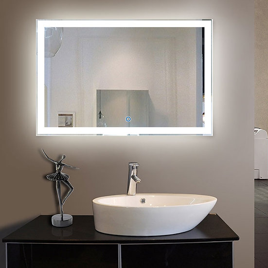 55 x 36 Inch LED Bathroom Mirror with Touch Button.