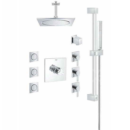 Grohe 117163 Allure Square THM Custom Shower Kit with Body Sprays in Starlight C