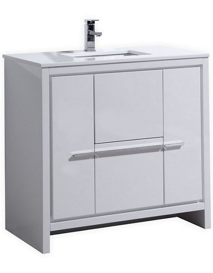 "Dolce 36"" High Gloss White Vanity"