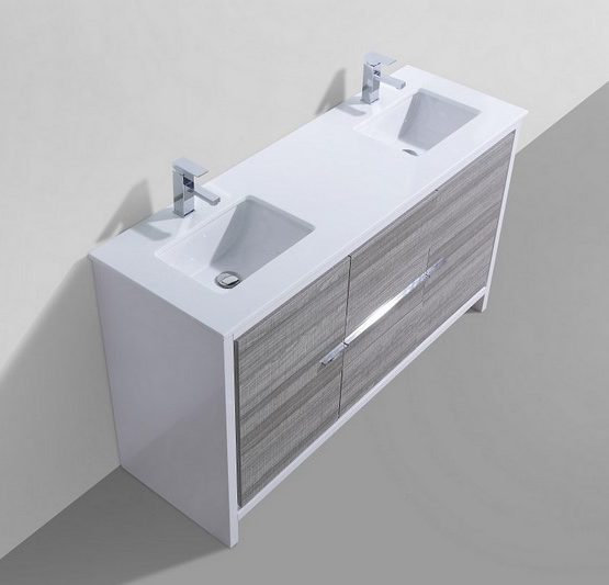 """Dolce 60""""  Ash Gray Double Sink Vanity"""