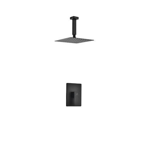 AQUA PIAZZA BLACK SHOWER SET W/ 8″ CEILING MOUNT SQUARE RAIN SHOWER