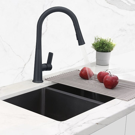 STYLISH Single Handle Pull Down Kitchen Faucet - Matte Black Finish