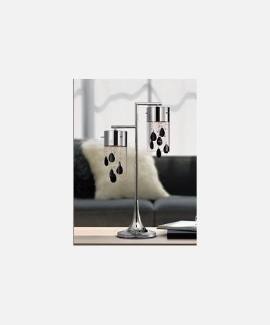 Double Table Lamp w/Crystals & Black Glass