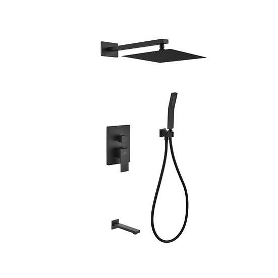 AQUA PIAZZA BLACK SHOWER SET W/ 12″ SQUARE RAIN SHOWER, TUB FILLER AND HANDHELD