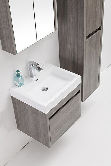 "24"" LABRADOR - Maple Grey - Single Sink Wall-Hung Vanity"