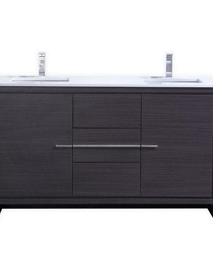 """Dolce 60"""" Gray Oak Double Sink Vanity"""