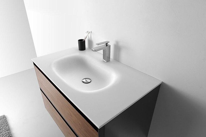 "36"" MALIBU - Walnut - Single Sink Wall-Hung Vanity"