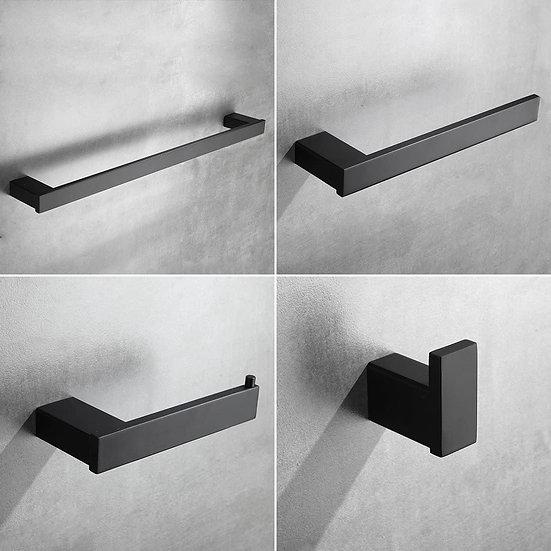 4-Piece Bathroom Hardware Set Towel Hook Towel Ring Towel Bar Toilet Paper Holde