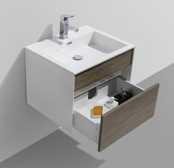 "Fitto 24"" Havana Oak Wall Mount Modern Bathroom Vanity"