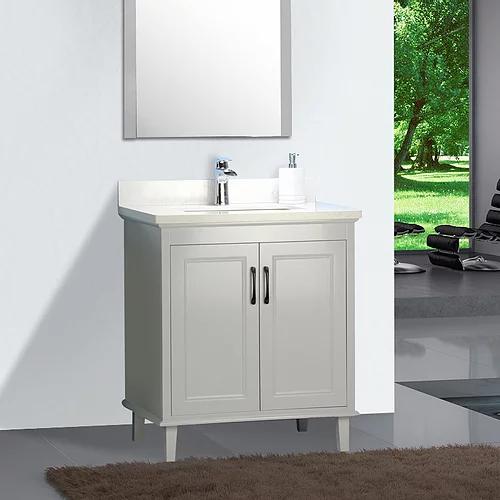 """30"""" European Style Grey Double Door Bathroom Vanity with Stone Top"""