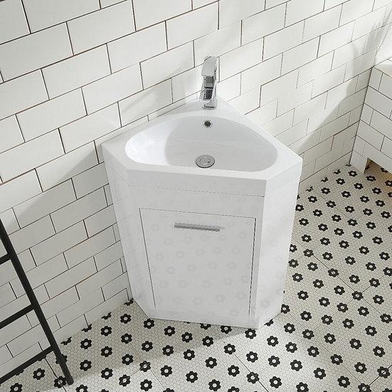 "18"" La Petite Corner White - Single Sink Wall-Hung Bathroom Vanity"