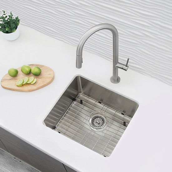 22 in Dual Mount Single Bowl Kitchen Sink, 18 Gauge Stainless Steel with Grid an