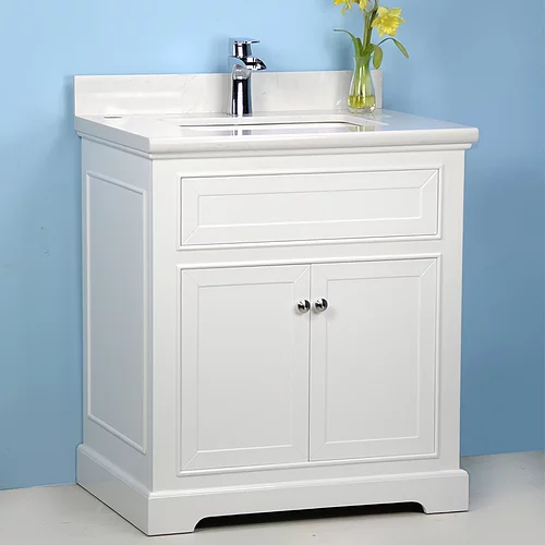 """36"""" Transition White Bathroom Vanity with Stone Top"""