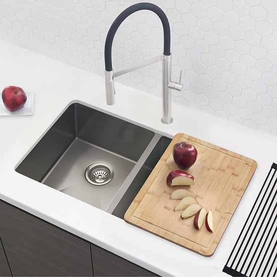 32 in Double Bowl Kitchen Sink, 16 Gauge Stainless Steel with Standard Strainers