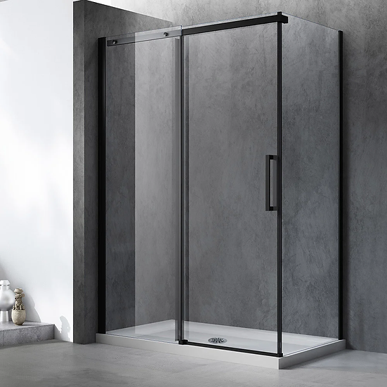 """60"""" x 36"""" Matte black shower kit with base and reversible door + base"""