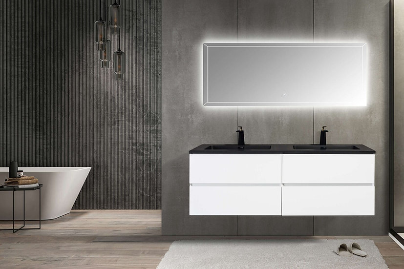 "60"" Edge - White - Double Sink Wall-Hung Bathroom Vanity"