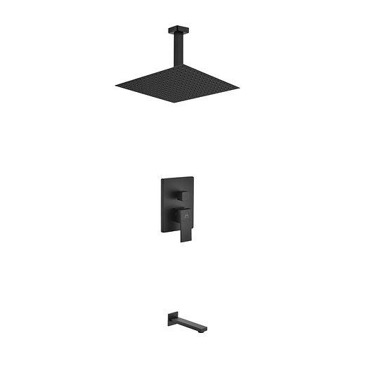 AQUA PIAZZA BLACK SHOWER SET W/ 12″ CEILING MOUNT SQUARE RAIN SHOWER AND TUB FIL