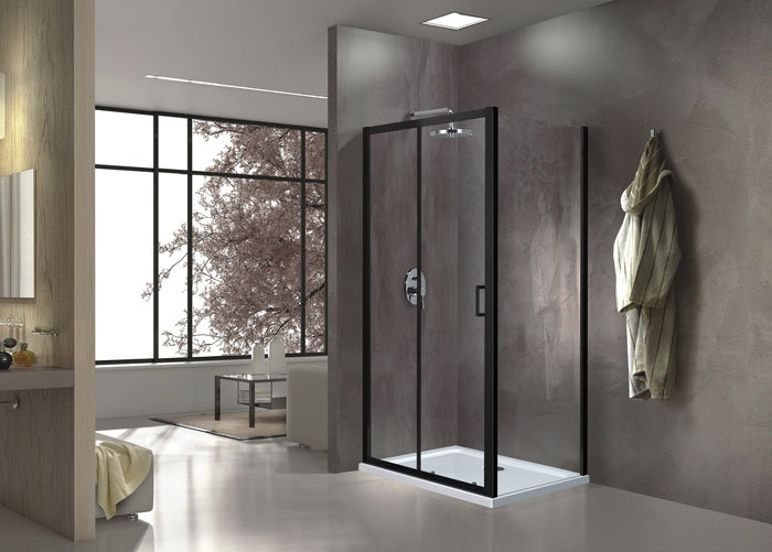 60 In. Sliding Shower Enclosure In Matte Black