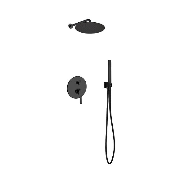 AQUA RONDO BLACK SHOWER SET W/ 12″ RAIN SHOWER AND HANDHELD