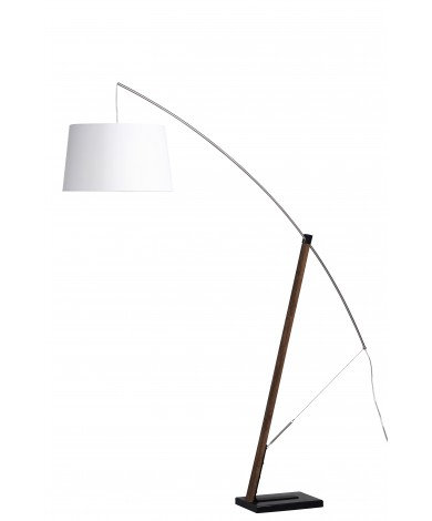 Floor Arc Lamp w/ White Shade & Walnut Stain Wood