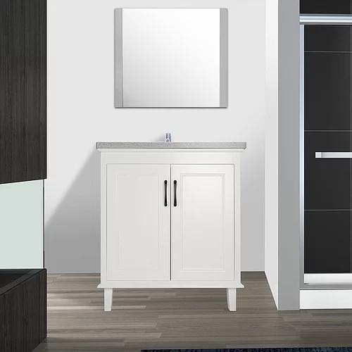"""30"""" European Style White Double Door Bathroom Vanity with Stone Top"""