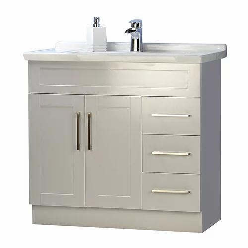 "36"" Asher Style Grey Bathroom Vanity with Ceramic Top"