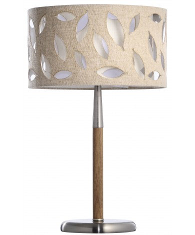 Walnut Finish Wood & Brushed Metal Table Lamp