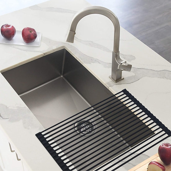 30 in Single Bowl Kitchen Sink, 16 Gauge Stainless Steel with Standard Strainers