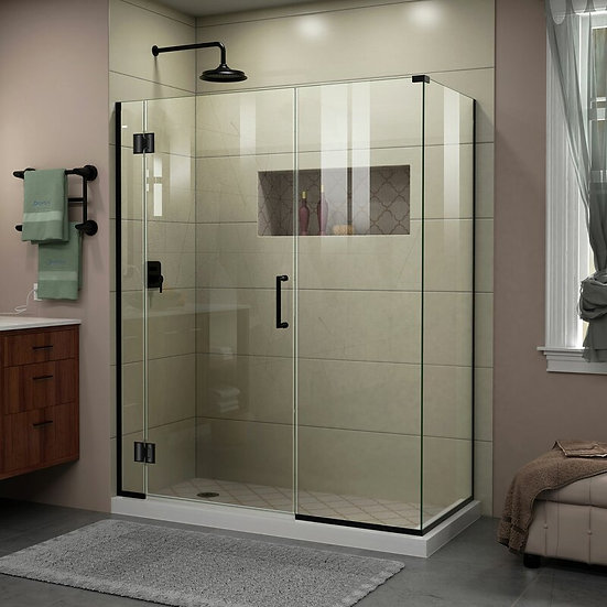60 in. W x 30 3/8 in. D x 72 in. H Frameless Hinged Shower Enclosure