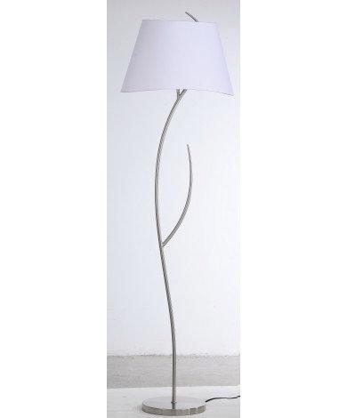 Satin Nickel Floor Lamp with White Shade