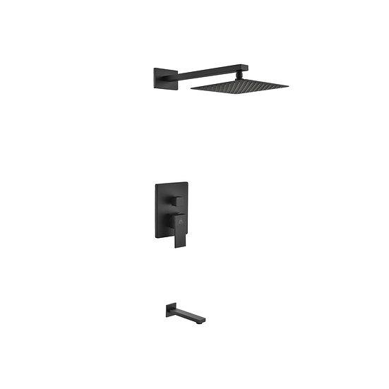 AQUA PIAZZA BLACK SHOWER SET W/ 8″ SQUARE RAIN SHOWER AND TUB FILLER