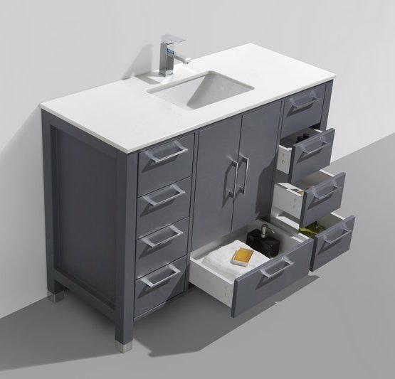 "Anziano 48"" Matte Gray Single Sink Vanity"