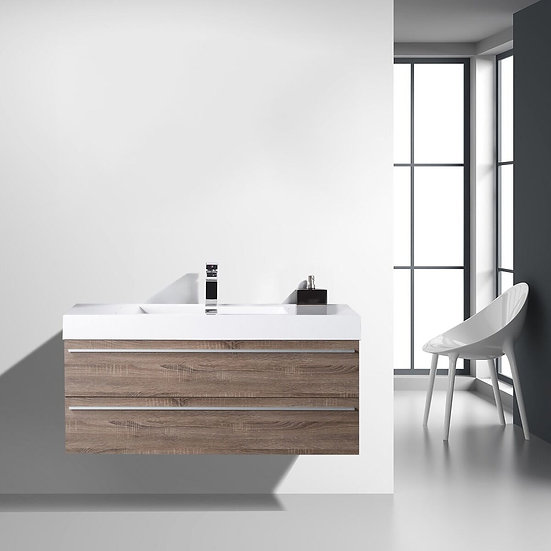 "48"" Sofia - Soft Oak - Single Sink Wall-Hung Bathroom Vanity"